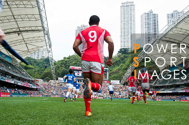 South Korea vs Tunisia during the HSBC Sevens Wold Series Qualifier match as part of the Cathay Pacific / HSBC Hong Kong Sevens at the Hong Kong Stadium on 28 March 2015 in Hong Kong, China. Photo by Xaume Olleros / Power Sport Images
