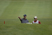USA Team player Stewart Cink and his caddy stuck in a ditch after an errant drive from partner Chad Campbell on the 15th hole during the Morning Foursomes on Day 2 of the Ryder Cup at Valhalla Golf Club, Louisville, Kentucky, USA, 20th September 2008 (Photo by Eoin Clarke/GOLFFILE)