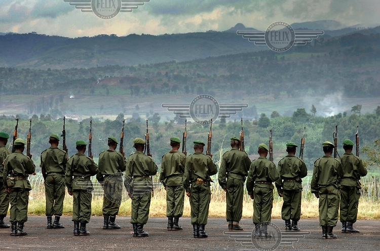 Congolese soldiers stand to attention on an airsrip during their training by MONUC (United Nations Mission in the Democratic Republic of Congo), a United Nations (UN) peacekeeping mission.