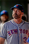 21 September 2018: New York Mets Manager Mickey Callaway watches from the dugout during a game against the Washington Nationals at Nationals Park in Washington, DC. The Mets defeated the Nationals 4-2 in the second game of their 4-game series. Mandatory Credit: Ed Wolfstein Photo *** RAW (NEF) Image File Available ***