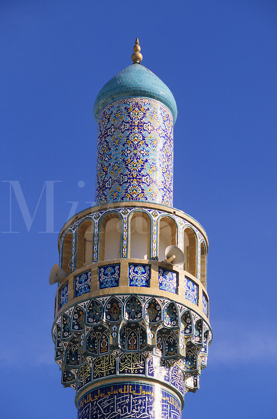 Iranian Mosque, Dubai, United Arab Emirates. Decorated and tiled minaret with non-figurative designs.