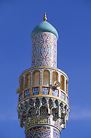 Iranian Mosque, Dubai, United Arab Emirates. Decorated and tiled minaret with non-figurative designs.