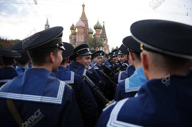 Russian sailors chatted as they waited near Red Square in Moscow to take part in a rehearsal for Sunday's traditional Victory Day parade marking the 65th anniversary of the end of WWII, which, for the first time, will include servicemen from Allied forces. Moscow, Russia, May 4, 2010