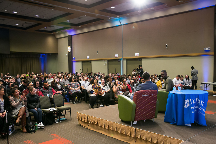 An Evening with Tarell Alvin McCraney, Friday, April 21, 2017 in the Lincoln Park Student Center. (Photo by Diane M. Smutny)