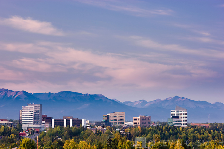 Anchorage's Midtown skyline with the Chugach Mountains in the background, fall, Anchorage, Southcentral Alaska, USA.