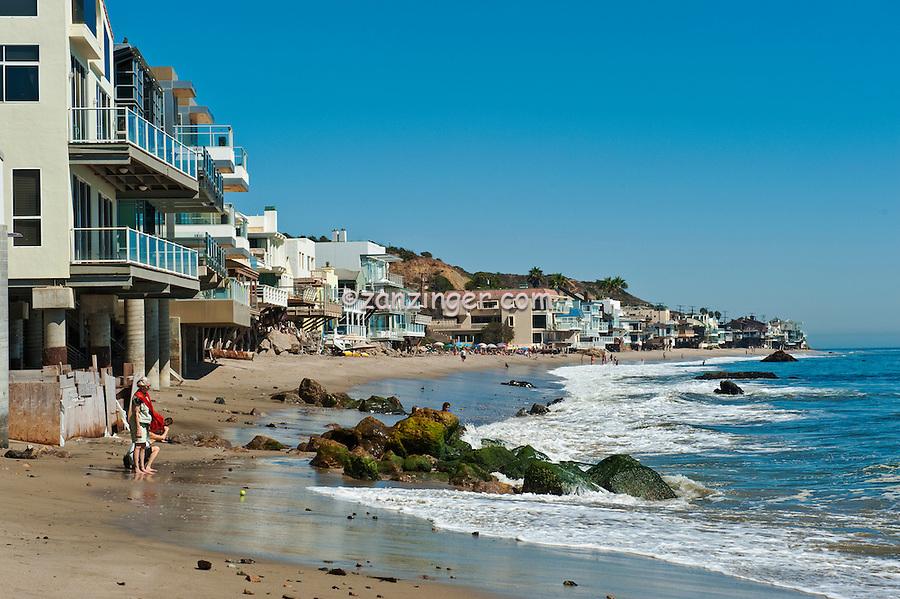 Malibu Road, Ca, Colorful, Luxury, Oceanfront, Beach, Houses, Raised, Stilts, Pilings, low tide, Los Angeles, CA
