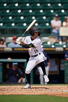 Bradenton Marauders Chris Sharpe (18) at bat during a Florida State League game against the Charlotte Stone Crabs on April 10, 2019 at LECOM Park in Bradenton, Florida.  Bradenton defeated Charlotte 2-1.  (Mike Janes/Four Seam Images)