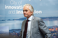 Michael Douglas during the press conference at the Guildhall in Swansea, Wales, UK. Wednesday 24 July 2019<br /> Re: Catherine Zeta-Jones receives the honorary freedom of the City and County of Swansea during a ceremony at the Guildhall in Swansea, Wales, UK.
