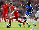 Philippe Coutinho of Liverpool glides past Idrissa Gueye of Everton during the English Premier League match at Anfield Stadium, Liverpool. Picture date: April 1st 2017. Pic credit should read: Simon Bellis/Sportimage