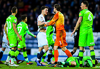 Norwich City's Tim Krul holds Blackburn Rovers' Richie Smallwood after he fouled a Norwich City player<br /> <br /> Photographer Alex Dodd/CameraSport<br /> <br /> The EFL Sky Bet Championship - Blackburn Rovers v Norwich City - Saturday 22nd December 2018 - Ewood Park - Blackburn<br /> <br /> World Copyright © 2018 CameraSport. All rights reserved. 43 Linden Ave. Countesthorpe. Leicester. England. LE8 5PG - Tel: +44 (0) 116 277 4147 - admin@camerasport.com - www.camerasport.com