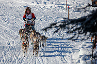 Emma Shawcroft on the trail on the way to the finish of the 2018 Junior Iditarod in Willow, Alaska. Sunday February 25, 2018<br /> <br /> Photo by Jeff Schultz/SchultzPhoto.com  (C) 2018  ALL RIGHTS RESERVED