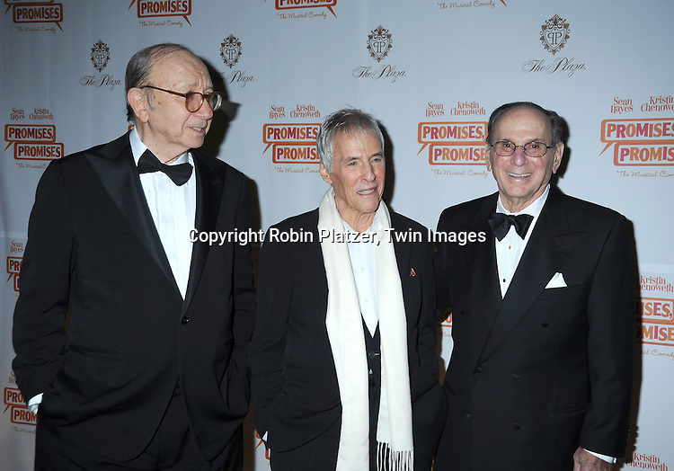 "Neil Simon, Burt Bacharach and Hal David , the creators of the musical arriving at The Broadway Opening Night party of the revival of ""Promises, Promises"" on April  25, 2010 at The Plaza Hotel  in New York City."