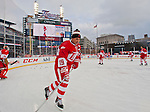 31 December 2013: Former Detroit Red Wings forward Steve Yzerman (19) skate during warmups before the Toronto Maple Leafs v Detroit Red Wings Alumni Showdown hockey game, at Comerica Park, in Detroit, MI.