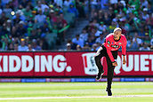 10th February 2019, Melbourne Cricket Ground, Melbourne, Australia; Australian Big Bash Cricket, Melbourne Stars versus Sydney Sixers; Nathan Lyon of the Sydney Sixers follows through with his bowling action