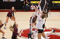 STANFORD, CA - August 28, 2016: Ivana Vanjak, Audriana Fitzmorris at Maples Pavilion. The Stanford Cardinal defeated the University of Minnesota 3-1.