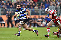 Kane Palma-Newport of Bath Rugby goes on the attack. Aviva Premiership match, between Bath Rugby and Gloucester Rugby on April 30, 2017 at the Recreation Ground in Bath, England. Photo by: Patrick Khachfe / Onside Images