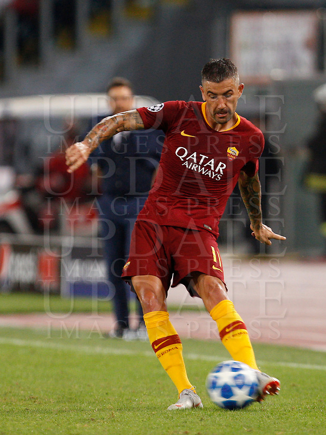 Roma's Aleksandar Kolarov in action during the Champions League football match between Roma and Viktoria Plzen at Rome's Olympic stadium, October 2, 2018.<br /> UPDATE IMAGES PRESS/Riccardo De Luca