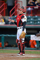 Erie Seawolves catcher James McCann #27 during a game against the Erie Seawolves on April 23, 2013 at Jerry Uht Park in Erie, Pennsylvania.  Erie defeated Bowie 4-1.  (Mike Janes/Four Seam Images)