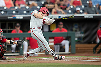 Arkansas Razorbacks designated hitter Matt Goodheart (10) swings the bat during Game 5 of the NCAA College World Series against the Texas Tech Red Raiders on June 17, 2019 at TD Ameritrade Park in Omaha, Nebraska. Texas Tech defeated Arkansas 5-4. (Andrew Woolley/Four Seam Images)