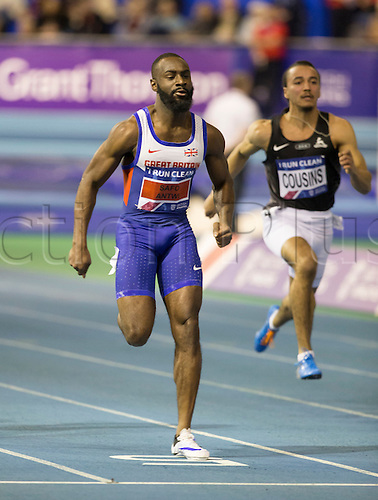 27.02.2016. EIS Sheffield, Sheffield, England. British Indoor Athletics Championships Day One. Sean Safo-Antwi, Enfield and Haringey Harriers wins his heat in the Men's 60m sprint.