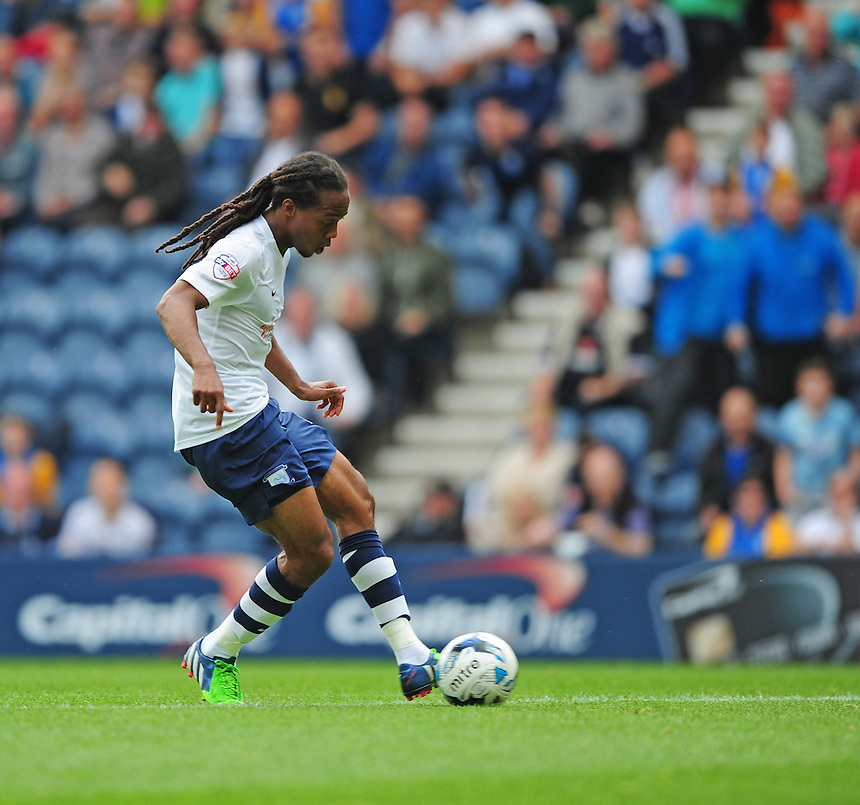 Preston North End's Daniel Johnson scores his sides equalising goal to make the score 1-1<br /> <br /> Photographer Chris Vaughan/CameraSport<br /> <br /> Football - The Football League Sky Bet Championship - Preston North End v Ipswich Town - Saturday 22nd August 2015 - Deepdale - Preston<br /> <br /> &copy; CameraSport - 43 Linden Ave. Countesthorpe. Leicester. England. LE8 5PG - Tel: +44 (0) 116 277 4147 - admin@camerasport.com - www.camerasport.com