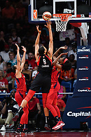 Washington, DC - July 13, 2019: Las Vegas Aces center Liz Cambage (8) connects on a big basket late in the 4th quarter of game between Las Vegas Aces and Washington Mystics at the Entertainment & Sports Arena in Washington, DC. The Aces defeated the Mystics 81-85. (Photo by Phil Peters/Media Images International)