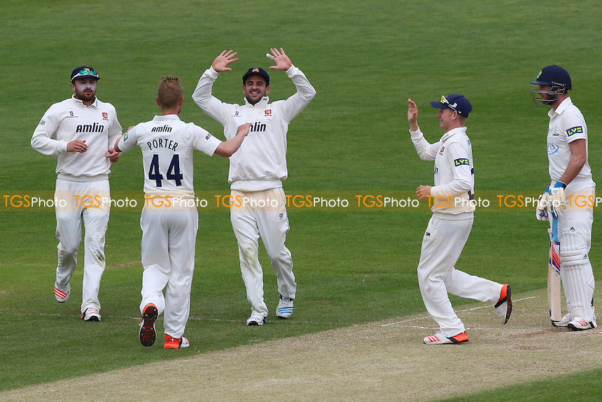 Jamie Porter (44) of Essex is congratulated by his team mates after taking the wicket of Chris Cooke (R) - Glamorgan CCC vs Essex CCC - LV County Championship Division Two Cricket at the SWALEC Stadium, Sophia Gardens, Cardiff, Wales - 20/05/15 - MANDATORY CREDIT: TGSPHOTO - Self billing applies where appropriate - contact@tgsphoto.co.uk - NO UNPAID USE