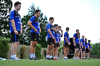 Bath Rugby players look on. Bath Rugby training session on July 21, 2015 at Farleigh House in Bath, England. Photo by: Patrick Khachfe / Onside Images