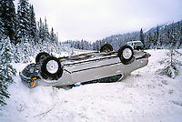 Highway / Road Traffic Accident, BC, British Columbia, Canada - Overturned Car in Snow, Upside Down Vehicle in Ditch, Winter