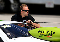 Sep 28, 2013; Madison, IL, USA; NHRA pro stock driver Deric Kramer during qualifying for the Midwest Nationals at Gateway Motorsports Park. Mandatory Credit: Mark J. Rebilas-