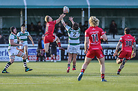 Will HOMER of Jersey Reds (9) intercepts the ball before going on to score the opening try during the Greene King IPA Championship match between Ealing Trailfinders and Jersey Reds at Castle Bar , West Ealing , England  on 22 December 2018. Photo by David Horn.