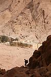view on Saint Catherine's Monastery<br /> <br /> Vue matinale sur le monast&egrave;re de Sainte Catherine depuis la descente par l'escalier de la Repentance