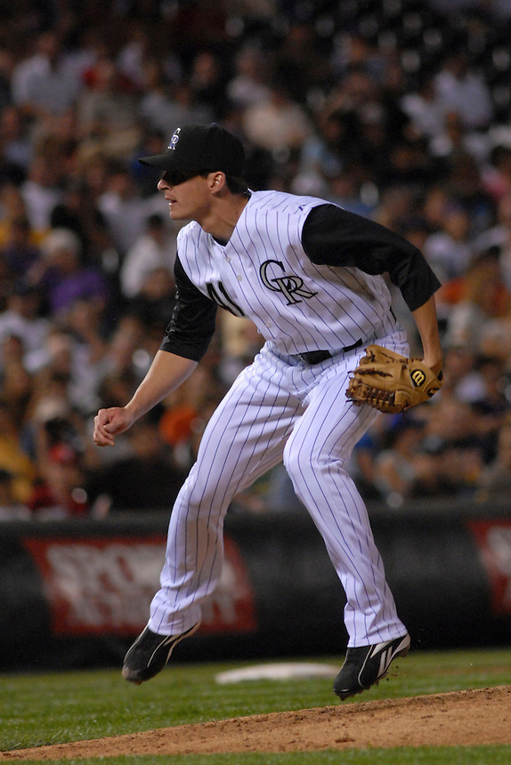 04 August 08: Colorado Rockies pitcher Steven Register follows through on a pitch during his major league debut against the Washington Nationals. The Nationals defeated the Rockies 9-4 at Coors Field in Denver, Colorado. FOR EDITORIAL USE ONLY. FOR EDITORIAL USE ONLY