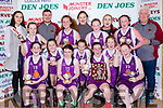 The Scartaglen NS team celebrate after winning the Senior NS A Girls final at the St Marys Basketball Blitz on Saturday front row l-r: Charlie O'Keeffe, Katie Kerins, Muireann Rahilly, Shauna McCarthy, Back row  Leanne Cahill-O'Connor Miss Basketball Molly Mahony, Paul Moroney, Jessica Riordan, Muireann Walsh, Ella Kerin, Tara Kerin, Maura Collins, Ciara Kerin, Michaela Buckley, Ciara Casey, Mossie Kerin
