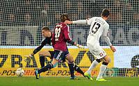 Fussball DFB Pokal:  Saison   2011/2012  Achtelfinale  21.12.2011 Borussia Moenchengladbach - FC Schalke 04 Abseits Tor von Roman Neustaedter (re, Borussia Moenchengladbach) gegen Christian Fuchs (FC Schalke 04) und Lars Unnerstall (FC Schalke 04)