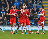 Lee Martin of Gillingham middle celebrates after scoring the second Gillingham  goal  during Portsmouth vs Gillingham, Sky Bet EFL League 1 Football at Fratton Park on 10th March 2018