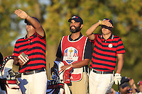 Patrick Reed &amp; Jordan Spieth (Team USA) on the 17th tee during Saturday afternoon Fourball at the Ryder Cup, Hazeltine National Golf Club, Chaska, Minnesota, USA.  02/10/2016<br /> Picture: Golffile | Fran Caffrey<br /> <br /> <br /> All photo usage must carry mandatory copyright credit (&copy; Golffile | Fran Caffrey)