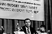 January 22, 1994 File Photo - Marcel Cote, Secor speak at a pre (Federal) budget forum organized by the IRPP.<br /> <br /> Cote ran for Montreal Mayor in the November 3rd, 2013 municipal electiond and was defeated by Denis Coderre.<br /> <br /> Former President of SECOR (consulting firm) Cote ran for Montreal Mayor and was defeated by Denis Coderre in the November 3, 2013 municipal elections.<br /> Marcel Cote just passes away today May 25, 2014 of cardiac arrest while taking part in a fundraiser race.<br /> <br /> File Photo : Agence Quebec Presse