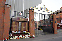 17/03/2010 Europa League Football pre-game Press conference. Liverpool versus Lille. Outside the stadium on Anfield Road Flowers and Memorial commemorate the victims of the Hillsborough disaster 15th April 1989.