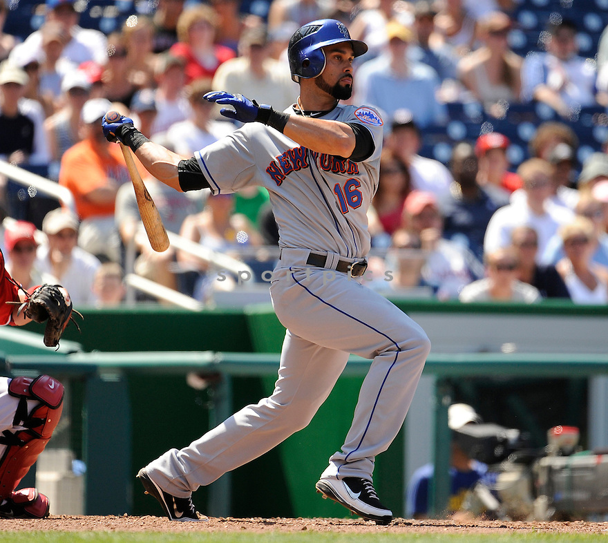 ANGEL PAGAN, of the New York Mets in action during the Mets game against the Washington Nationals on July 31, 2011 at Nationals Park in Washington, DC. The Nationals beat the Mets 3-2.