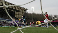 Max Kretzschmar of Wycombe Wanderers scores his goal during the Sky Bet League 2 match between Wycombe Wanderers and Crawley Town at Adams Park, High Wycombe, England on 28 December 2015. Photo by Andy Rowland / PRiME Media Images