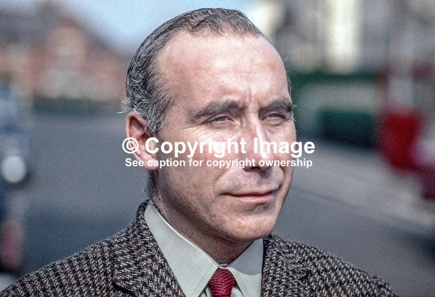 David Bleakley, N Ireland Labour Party, candidate, East Belfast, UK General Election, May 1970. 197005000210<br /> <br /> Copyright Image from Victor Patterson, 54 Dorchester Park, Belfast, UK, BT9 6RJ<br /> <br /> t1: +44 28 9066 1296 (from Rep of Ireland 048 9066 1296)<br /> t2: +44 28 9002 2446 (from Rep of Ireland 048 9002 2446)<br /> m: +44 7802 353836<br /> <br /> e1: victorpatterson@me.com<br /> e2: victorpatterson@gmail.com<br /> <br /> The use of my copyright images is subject to my Terms &amp; Conditions.<br /> <br /> It is IMPORTANT that you familiarise yourself with them. They are available on my website at www.victorpatterson.com.<br /> <br /> None of my copyright images may be used on a website unless they are visibly watermarked, i.e. &copy; Victor Patterson within the body of the visible image. Metadata denoting my copyright must NOT be deleted. <br /> <br /> Web use (maximum size - 400 kb) is extra at currently recommended NUJ rates.