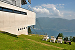 The gondola stop from Orselina to the top of Cardada (elevation of 1,340 meters or 4,400 feet) on Cimetta mountain in the Lepontine Alps above Locarno on Lake Maggiore.