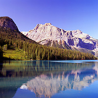 Yoho National Park, Canadian Rockies, BC, British Columbia, Canada - Emerald Lake, and President Mountain (Elev 3,138 m / 10,295 ft), Summer