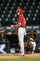 Palm Beach Cardinals right fielder Thomas Spitz (43) at bat during a game against the Bradenton Marauders on August 8, 2016 at McKechnie Field in Bradenton, Florida.  Bradenton defeated Palm Beach 5-4 in 11 innings.  (Mike Janes/Four Seam Images)