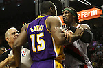 04/08/11-Lakers' Ron Artest and Blazers' Gerald Wallace shove each other in Portland's 93-86 win over L.A. at the Rose Garden..Photo by Jaime Valdez........................................