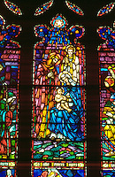 Stained glass Nativity at House of Hope Presbyterian Church. St Paul Minnesota USA