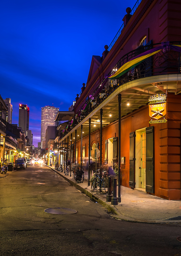 NEW ORLEANS - CIRCA FEBRUARY 2014: St. Pete Street in the French Quarter at night in New Orleans, Louisiana.