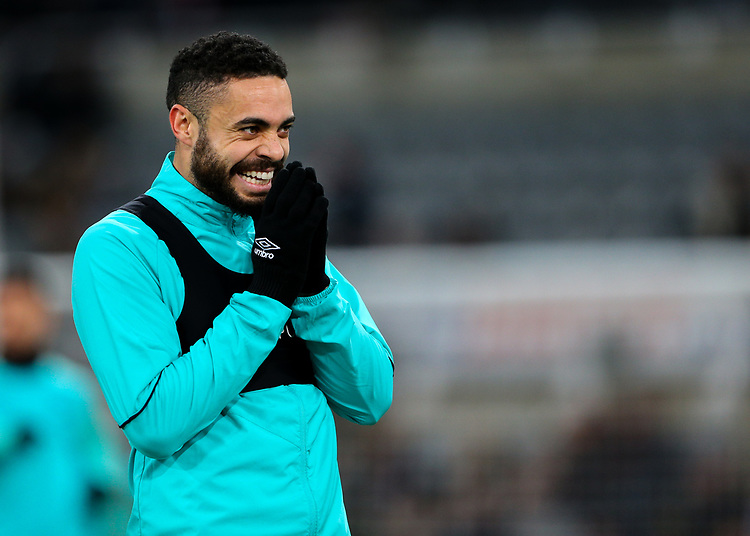Blackburn Rovers' Derrick Williams reacts during the warm up<br /> <br /> Photographer Alex Dodd/CameraSport<br /> <br /> Emirates FA Cup Third Round - Newcastle United v Blackburn Rovers - Saturday 5th January 2019 - St James' Park - Newcastle<br />  <br /> World Copyright © 2019 CameraSport. All rights reserved. 43 Linden Ave. Countesthorpe. Leicester. England. LE8 5PG - Tel: +44 (0) 116 277 4147 - admin@camerasport.com - www.camerasport.com