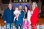 Baby Benn Michael with his parents Kieran & Tracey O'Sullivan, Listowel and sister Annie Grace and god parents Sheamus Beasley & Julie Kelly whom was christened in St. Mary's Church, Listowel by Canon Declan O'Connor on Saturday last and afterwards atChristy's Bar, Listowel.